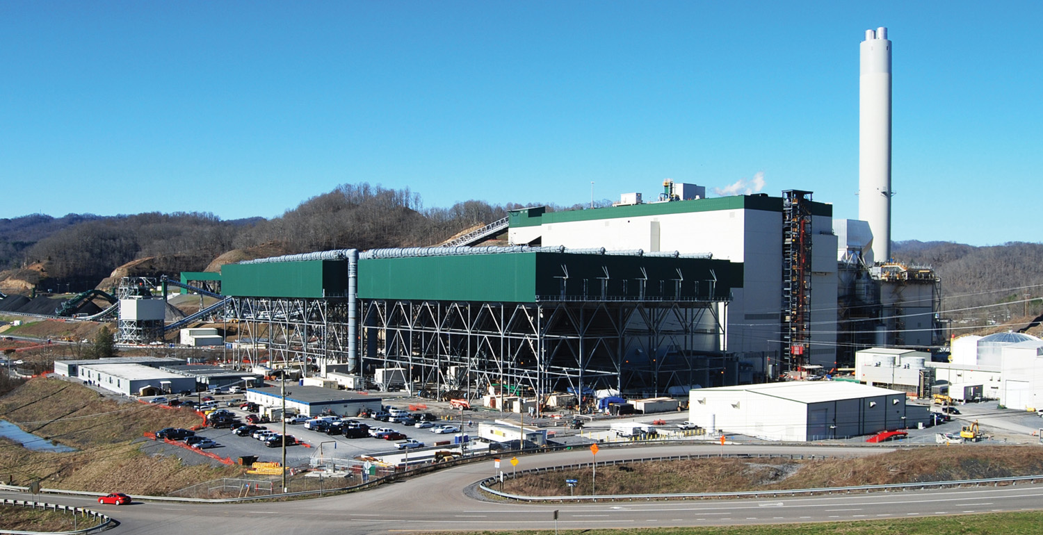 One of very few coal-fired power plants commissioned in recent years, the Virginia City Hybrid Energy Center uses air-cooled condensers (the green-topped structures) to reduce water consumption to one-tenth that of a comparable coal-fired plant.